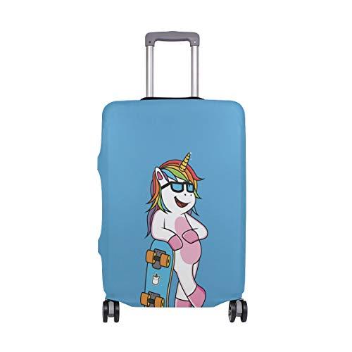 Reisegepäck-Abdeckung, cooles Einhorn mit Skateboard, elastischer Koffer-Schutz, waschbar, passend für 45,7–81,3 cm