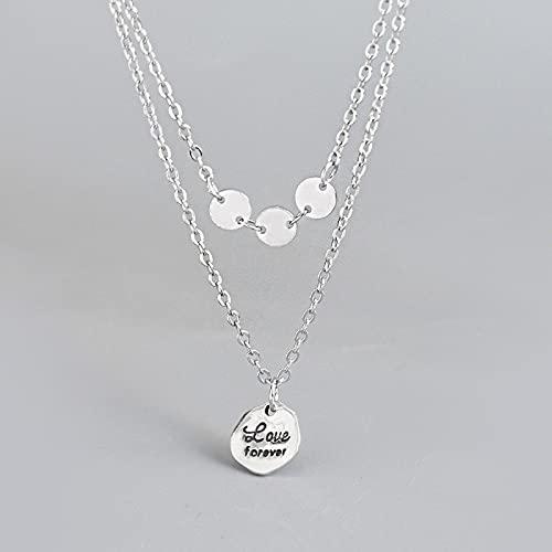 ShSnnwrl Colgante Plata de Ley 925 Disco de Letra Simple Collar Doble Mujeres Moda Fiesta Accesorios de joyería Plata