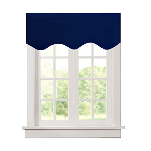 Aquazolax Window Scalloped Valances for Kitchen Blackout Decorative Scalloped Valance Curtain, 52inch x 18inch, Navy Blue, Single Panel