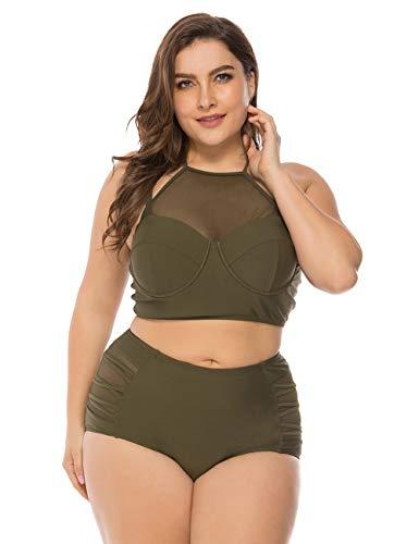 FeelinGirl Mujer Traje de Baño Bikini Estilo de Selva Tropical Talla Grande 2 Piezas Bañador Verde 4XL/Talla 56-58