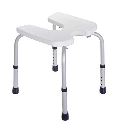 Wenko Hygienehocker Secura - höhenverstellbar, 120 kg Tragkraft, 46 x 36-46 x 53,5 cm, weiß