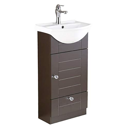 Mahayla Small Bathroom Cabinet Vanity Sink White Heavy Duty Ceramic Wall Mount Sink With Modern Dark...