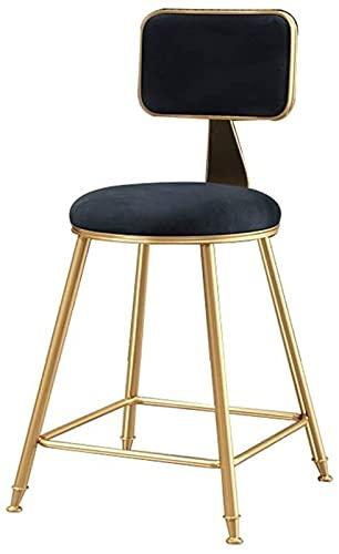 GDXFSM Taburetes De Mostrador con Taburete Giratorio Ajus Taburete De Bar, Silla del Comedor tapizada, Silla del Comedor Alta Metal, sillón de casa (Color : Black)