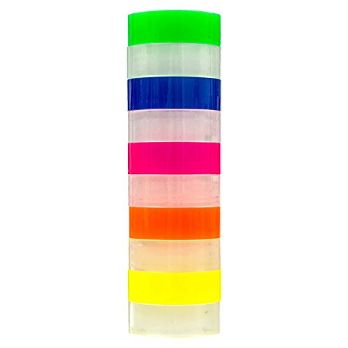Transparent Tape 10 Rolls   Bundle Pack 5 Clear + 5 Colors Yellow Orange, Pink, Blue, Green   3/4inch by 1,150 inches Each   Safe & Great for Arts and Crafts Students, Office, Mail,Construction