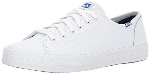 Keds Kickstart Lea. White/Blue, Zapatillas Mujer, Color Blanco, 37 EU