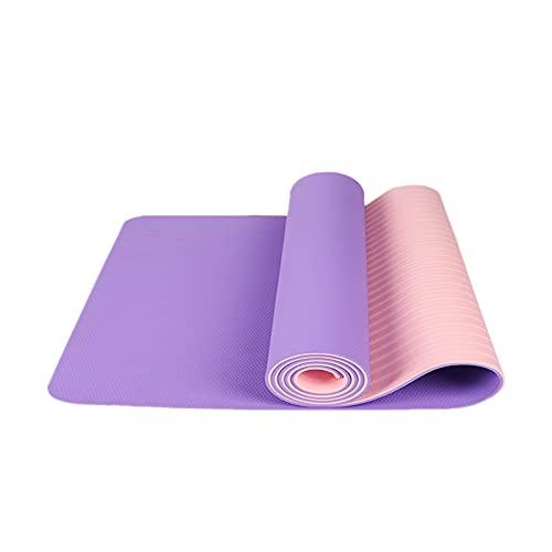 FENGCHENG Esterilla de yoga clásica y simple, ideal para cualquier persona, se puede utilizar en casa, oficina, sala de yoga, morado claro + rosa, 183 cm x 61 cm x 0,6 cm
