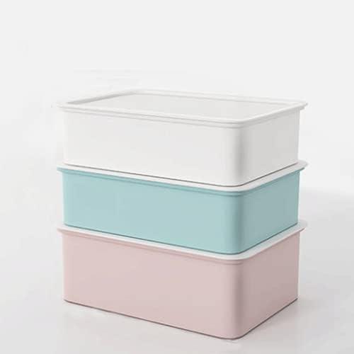 Kdsskj Set of 3 Plastic Storage White Memphis Mall Lid Bins Stack with Modern Super-cheap