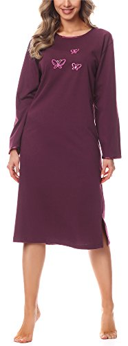 Merry Style Damen Langarm Nachthemd 91LW1 (Aubergine (Langarm), 42 (Herstellergröße: XL))