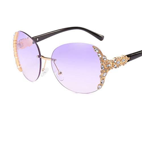 Taiyangcheng Gafas de Sol de Diamantes de imitación Gafas de Sol Redondas sin Marco Gafas para Mujer Damas