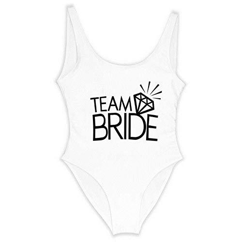 JINMENHUO Team Bride Letter Print Diamond Pattern One Piece Swimsuit Women Swimwear Sexy Wedding Bachelor Party Bathing Suit Swimsuits,Team Bride White,XL