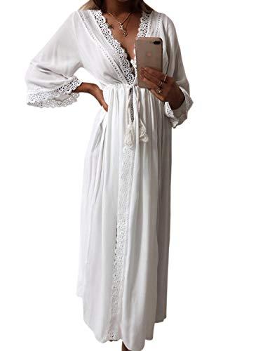 HAEMMA dames jurk zomerjurk losse casual tassen kraag button down blouse-jurk halve mouwen lang maxi-jurk