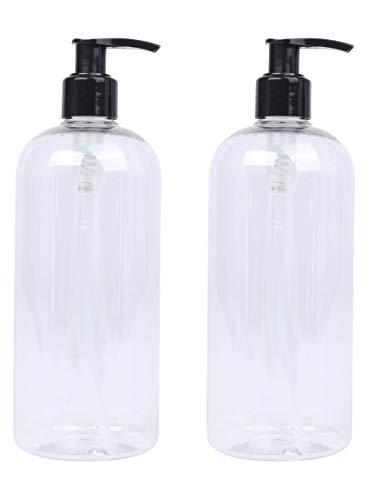 riciclabile Lucemill 2 x 500 ml trasparente PET Boston bottiglie di plastica W//argento//nero dispenser lozione dispenser