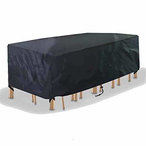 Cubierta para muebles 420D Oxford tela impermeable al aire libre, protector solar, cubierta contra el polvo para mesas y sillas adecuado para exteriores, patio, jardín negro 315* 180* 74cm