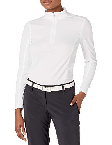 IZOD Women's Golf Long Sleeve 1/4 Zip Pullover Shirt, Bright White, Medium