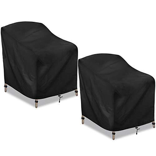CAVEEN Patio Chair Covers, Outdoor Stackable-Chair Patio Furniture Cover, Waterproof Deep Seat Lounge Chair Cover, High Back 600D Oxford Patio Chair Cover Black Large (2 Pack)