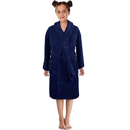 KEERADS Peignoir pour Enfants Petit Garçon Fille avec Capuche 100% Coton Robe de Chambre Serviette Doux Éponge de Coton 7-13 Ans (Large,Marine)