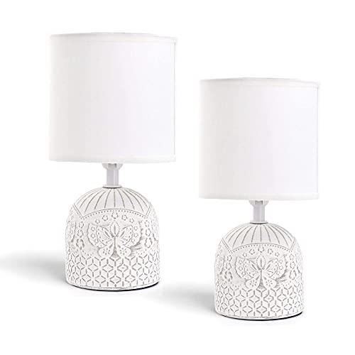 2 Lámparas de Mesita de Noche, Cuerpo de Diseño, Pantalla de Tela, Casquillo E14 (Bombilla no incluida). Perfecta para el Salón, Dormitorio o Recibidor. (Cerámica, Blanco)
