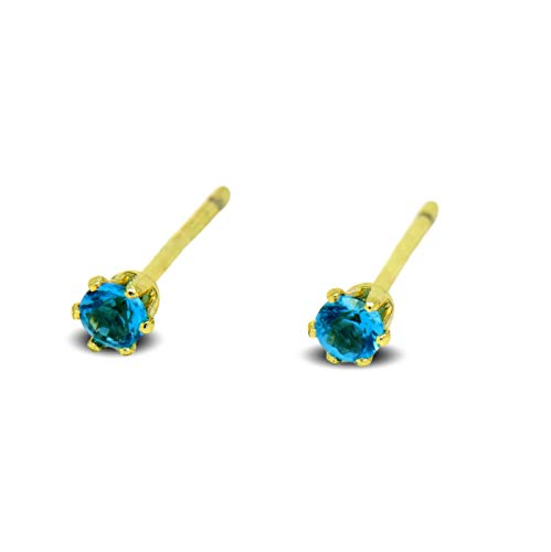 Blue Diamond Club - Tiny 9ct Yellow Gold Filled Womens Stud Earrings Girls Round Small 3mm Aquamarine Crystals 6 Claws