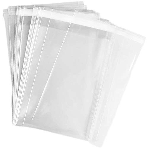 100 pcs Clear 6' x 9' Self Seal Cello Cellophane Bags Resealable Poly Bags 2.8 mils for Cookie, Candy, Gift Bakery, Prints, Photos, Cards & Envelopes, Party Decorative