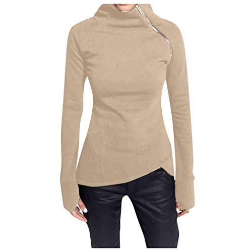 Casual Women Long Sleeve Turtleneck Pullover Solid Blouse Zipper Sweatshirt Tops Khaki