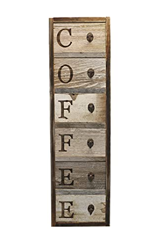Vertical Barnwood Coffee Mug Rack Wall Mounted, Wooden Hanging Cup Holder, Kitchen Storage for Display. Organizer Hooks, 36.75 X 10.5 Inches. Farmhouse Decor.