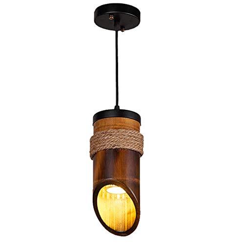 Lustres en bambou vintage, lampe de plafond décorative en bois Village rétro LED Antique industrielle Bar Cafe Table à manger Table Vêtements Magasin Lumière Pendant, 1/3 lumières (Design : A)