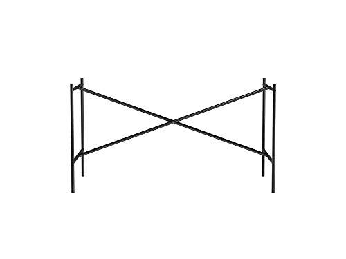 Modulor Tischgestell E2, idealer Besprechungstisch (72 x 70 x 135 cm) mit mittiger Kreuzstrebe, Unterbau ohne Tischplatte für Schreibtisch, schwarz