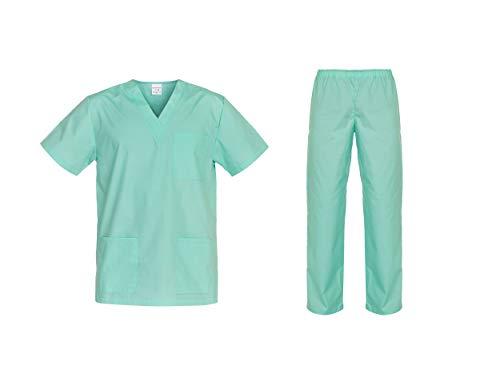 DINOZAVR Cesare Unisex-Schrubb-Set Uniform Schlupfkasack Oberteil mit Hose Grün XL