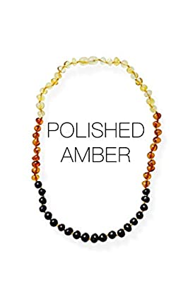 Meraki Adult Amber Necklace - Polished Baroque Baltic Amber Necklace | All Natural Pain Relief for Adults to Help Migraines, Sinuses, Arthritis and More | Rainbow Color (18 Inches)
