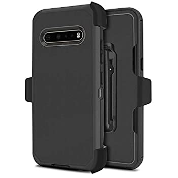 Customerfirst for LG V60 ThinQ [Built-in Screen Protector] Holster Belt Clip Kickstand Heavy Duty Full Body Armor Shockproof Protective Case for LG V60 5G  Black