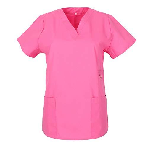 MISEMIYA - Casaca Mujer Mangas Cortas Uniforme Laboral CLINICA Estética Limpieza Veterinaria SANIDAD Dentista HOSTELERÍA Ref.707 - S, Rosa