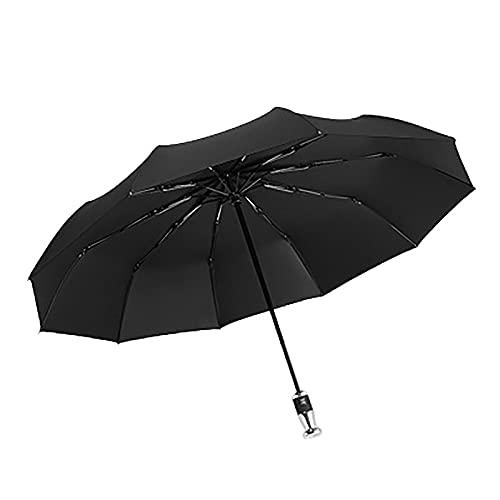 Paraguas Paraguas de Viaje a Prueba de Viento Paraguas Paraguas Plegable Resistente al Viento del Viento para Hombres y Mujeres (Color : Black)