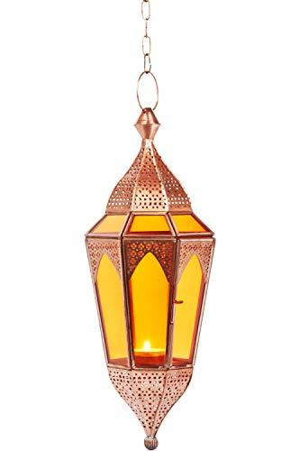 Oosterse lantaarn hangdraad glas Lalita oranje 41 cm groot | Oosterse glazen theelichthouder met handvat oosters | Marokkaanse lantaarns hangend als hanglampjes