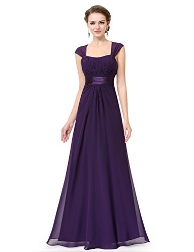 Ever-Pretty Vestido de Fiesta Noche Dama de Honor Mujer Largo Gasa Imperio Morado Oscuro 44