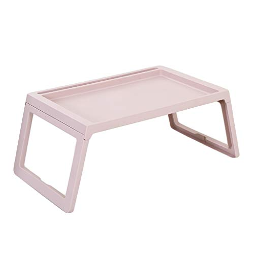 SHILONG Mesa Plegable Cama Portátil Tabla Lazy Turística Pequeña Mesita Tabla Compartida Simple For Hacer El Mes (Color : Leather Pink)