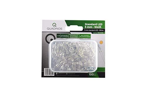 QUADRIOS GmbH Standard-LED-Set Warm-Weiß 5 mm Leuchtdioden und Dokumentation (100 Stück) Superhell