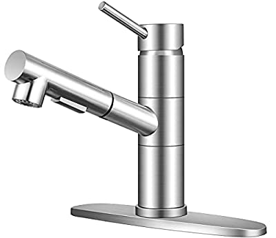 KINFAUCETS Modern Contemporary Brushed Nickel Single Handle Stainless Steel Pull Out Kitchen Faucet with Sprayer, 1 Or 3 Hole Prep Kitchen Sink Faucet for Farmhouse Rv Camper Laundry Utility Bar Sinks from KINFAUCETS