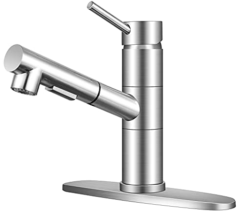 KINFAUCETS Single Handle Pull Out Kitchen Faucet,Single Lever Low Arch Stainless Steel Brushed Nickel Kitchen Sink Faucet with Pull Down Sprayer, RV Bar Utility Sink Faucets