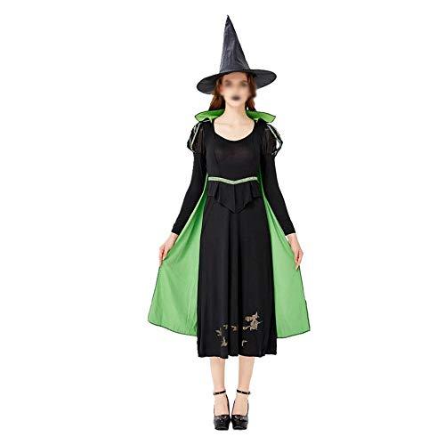 WXCymhy La Signora Halloween Male Costume Strega Gioca la Strega Costume Demone Ji Gonna Lunga Strega Fase Uniforme Giocare Vestiti Forniture di Halloween Maschera (Color : A, Size : S)