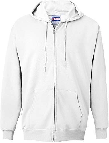 Hanes Men's Full Zip Ultimate Heavyweight Fleece Hoodie, White, Small