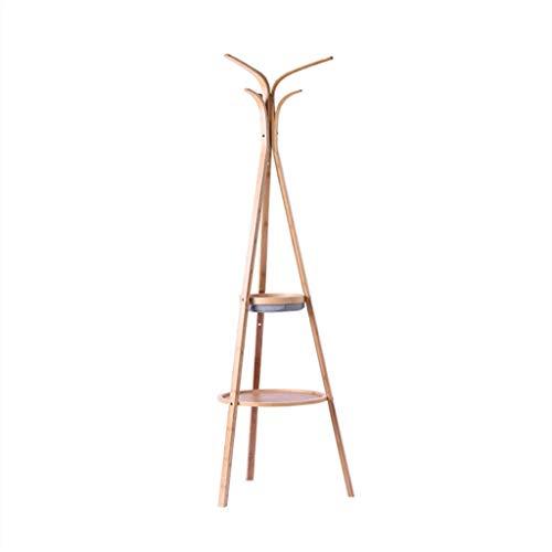 Perchero de pie independiente Rack de capa multifuncional de dos capas, perchero moderno de capa de piso minimalista, bastidores de arte de bambú para perchas móviles Perchero organizador de perchero