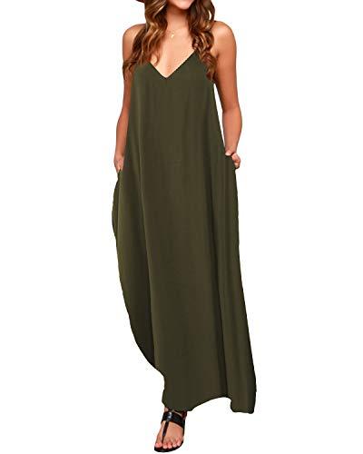 ACHIOOWA Sommerkleid Damen V-Ausschnitt Sexy Maxikleid Ärmellos Lang Dress Oversize Freizeit Strandkleid Grün-803255 L