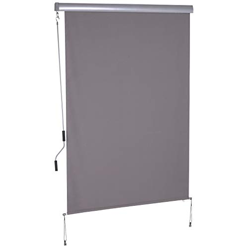 Outsunny Senkrechtmarkise Vertikalmarkise Sonnenschutz Windschutz Seitenrollo Sichtschutz mit Handkurbel Polyester + Aluminium Grau,140 x 200 cm