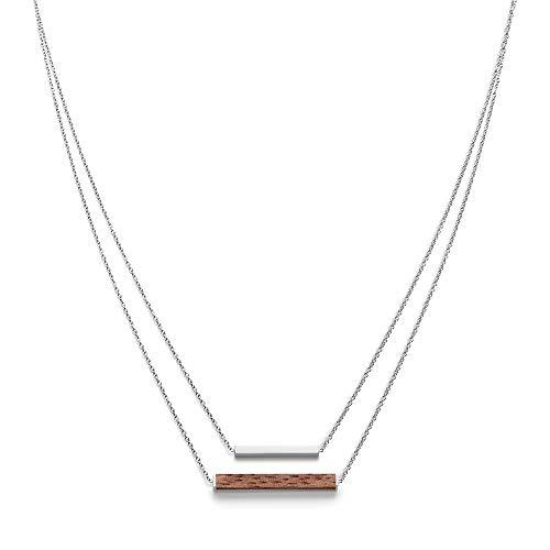 KERBHOLZ Holzschmuck – Geometrics Collection Rectangle Necklace Damen Halskette mit Anhänger aus Naturholz, silber größenverstellbar (Kettelänge 38 + 5 cm)