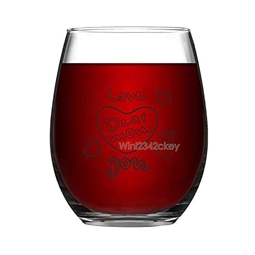 Copa de vino divertida, Love You Dear Mom sin tallo, vaso de vino, vasos de vino, copas de vino gigante, copas de vino blanco tinto, regalos para mamá mujeres