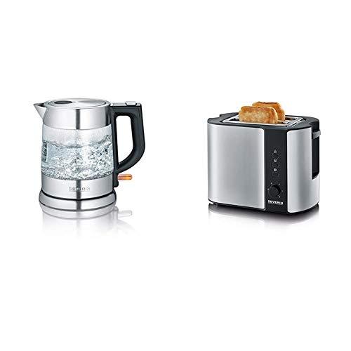 SEVERIN WK 3468 Glas-Wasserkocher (ca. 2.200 W, 1 L) edelstahl/schwarz & Automatik-Toaster, Inkl. Brötchen-Röstaufsatz, 2 Röstkammern, 800 W, AT 2589, Edelstahl/Schwarz