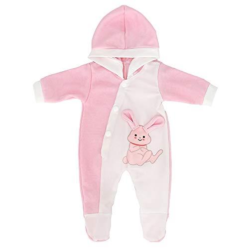 ZWOOS Puppenkleidung für New Born Babypuppen, Pyjama mit Kapuze für Puppen 35-43 cm (Rosa Kaninchen)