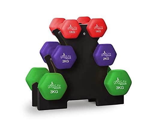 YOG&FIT-PH-006 Kit de Pesas, Mancuernas Hexagonales de Neopreno, Juego de 12kg 3 Pares Mancuernas de 2 x 1 kg, 2 x 2 kg y 2 x 3 kg con Soporte