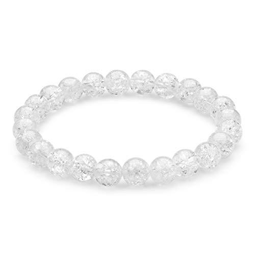 Pulsera Harmony de Cuarzo de Cristal Transparente para Mujer | Joyas de Cuentas de Piedras Preciosas de 8 mm | Sanación Espiritual | Goma Elástica | Idea de Regalo