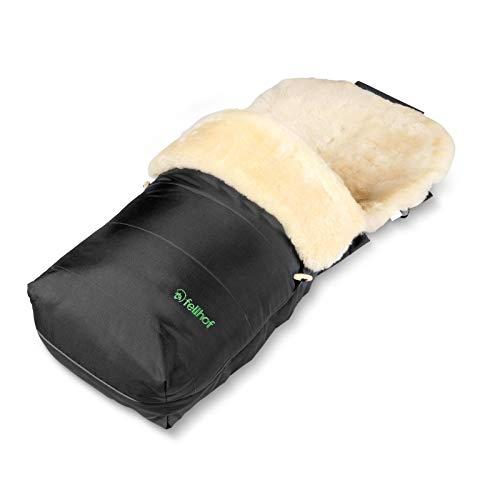 Fellhof 109403 Lammfell-Fußsack Garmisch, OEKO-TEX® Standard 100 zertifiziert, 45x97 cm, wind- und wasserdicht, Rückenteil abzipbar, waschbar bis 30° C (schwarz)